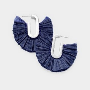 Jewelry - NWT Raffia Fan Tassel Earings Navy Blue Post